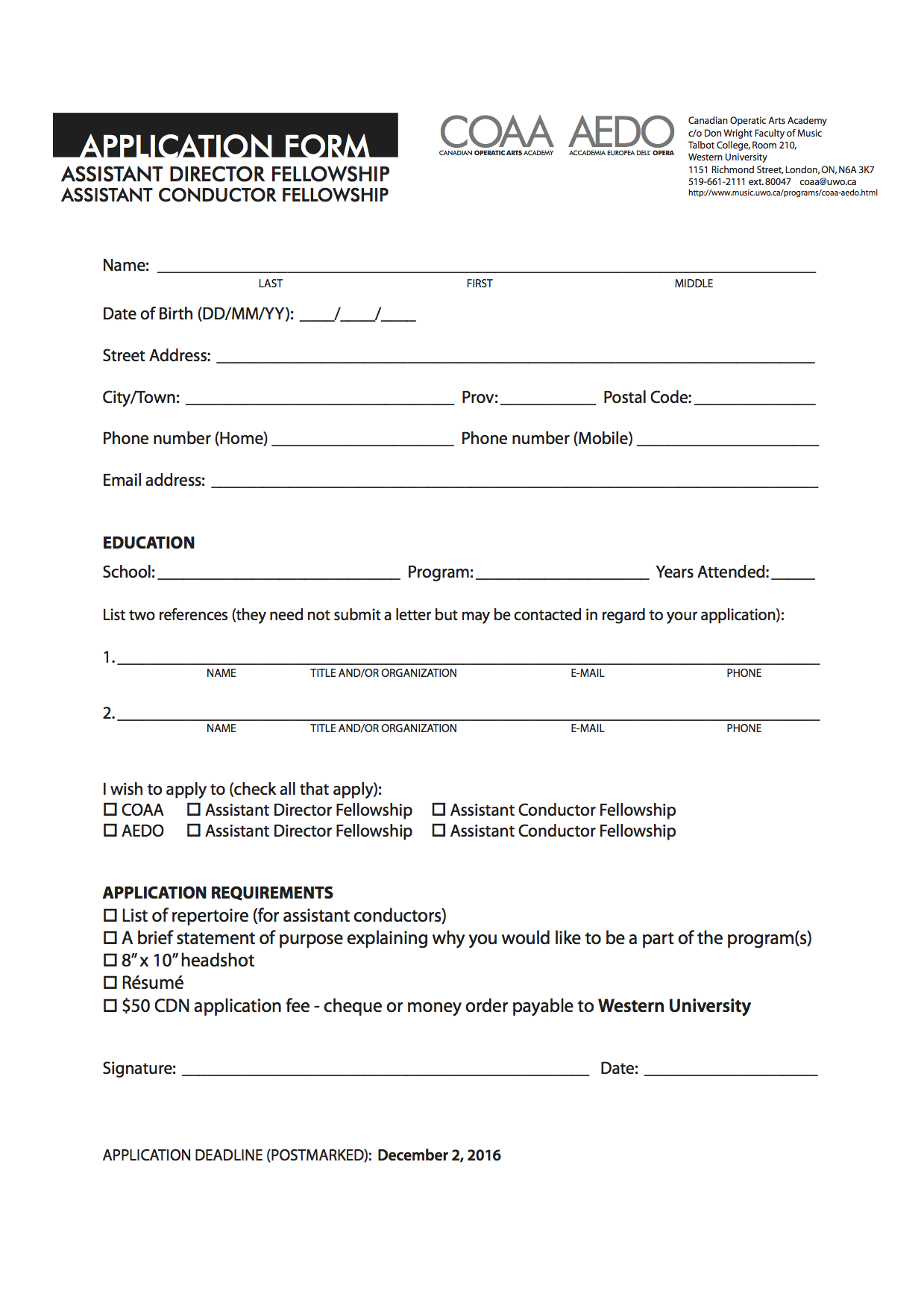 aedo costs application form